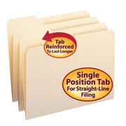 Smead® File Folders, Reinforced 1/3-Cut Tab Left Position, Letter Size, Manila, 100/Box (10335)