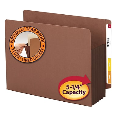 Smead® End Tab Pocket, Reinforced Straight-Cut Tab, 5.25 Expansion, XL Letter, Redrope with Dark Brown Gusset, 10/Box (73691)