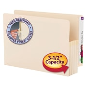 "Smead® End Tab File Pocket, Reinforced Straight-Cut Tab, 3-1/2"" Expansion, Manila Gusset, Legal Size, Manila, 25/Box (76124)"