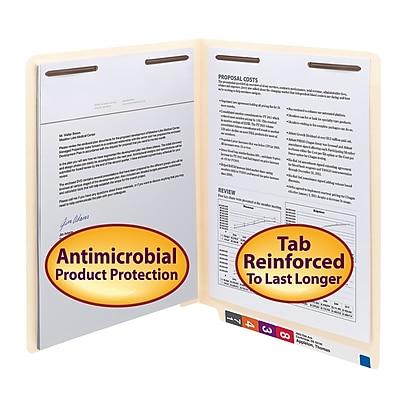 Smead Shelf-Master Antimicrobial Reinforced End-Tab File Folders, 2-Fasteners, Letter, Manila, 50/Bx (34116)