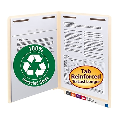 Smead® End Tab 100% Recycled Fastener File Folder, Shelf-Master® Reinforced Straight Tab, Letter, Manila, 50/Box (34160)