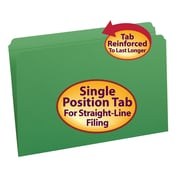 Smead® File Folder, Reinforced Straight-Cut Tab, Legal Size, Green, 100/Box (17110)