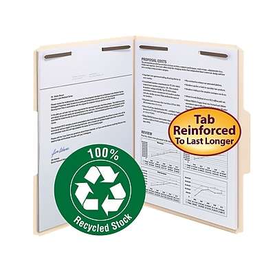 Smead 100% Recycled Fastener File Folder, 2 Fasteners, Reinforced 1/3-Cut Tab, Letter Size, Manila, 50 Count (14547)