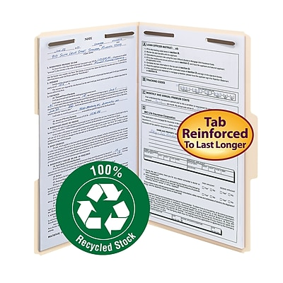 Smead 100% Recycled Reinforced 3-Tab File Folders, 2-Fasteners, Legal, Manila, 50/Bx (19547)