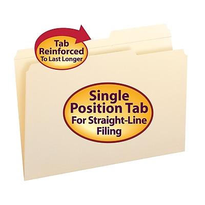 Smead Reinforced 2/5-Cut Tab File Folders, Right Position, Legal, Manila, 100/Bx (15386)