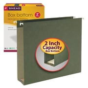 "Smead® Box Bottom Hanging File Folders, 2"" Expansion, Letter Size, Standard Green, 25/Box (64259)"