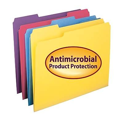 Smead® File Folder with Antimicrobial Product Protection, 1/3-Cut Tab, Letter Size, Assorted Colors, 100/Box (10349)