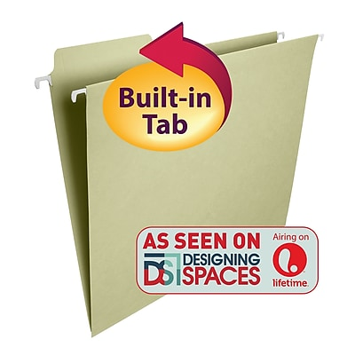 Smead® FasTab® Hanging File Folder, 1/3-Cut Built-In Tab, Letter Size, Moss, 20/Box (64082)