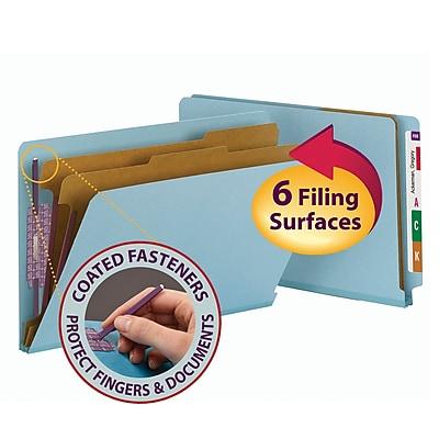 Smead End Tab Pressboard Classification File Folder with SafeSHIELD®, Legal Size, Blue, 10/Box (29781)