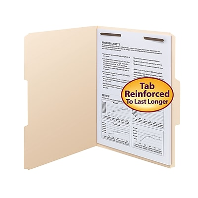Smead Fastener File Folder, 1 Fastener, Reinforced 1/3-Cut Tab, Letter Size, Manila, 50/Box (14534)