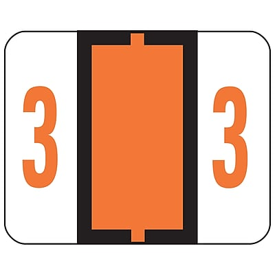 Smead BCCRN Bar-Style Color-Coded Numeric Label, 3, Label Roll, Dark Orange, 500 labels/Roll (67373)