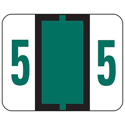Smead BCCRN Bar-Style Color-Coded Numeric Label, 5, Label Roll, Dark Green, 500 labels/Roll (67375)