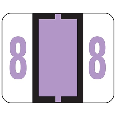 Smead® BCCRN Bar-Style Color-Coded Numeric Label, 8, Label Roll, Lavender, 500 labels/Roll (67378)