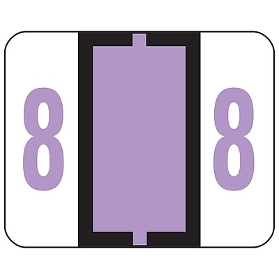 Smead BCCRN Bar-Style Color-Coded Numeric Labels, 8, Label Roll, Lavender, 500/Pk (67378)