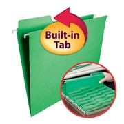 Smead FasTab 3-Tab Colored Hanging File Folders, Letter, Green, 20/Bx (64098)