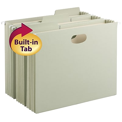 Smead FasTab 3-Tab Colored Hanging File Pockets with Full-Height Gusset, Letter, 3-1/2