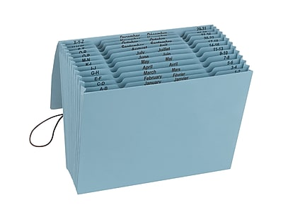 Smead 100% Recycled Colored Expanding Files, 12 Pockets, Flap & Elastic Cord Closure, Letter, Blue Moon (70779)