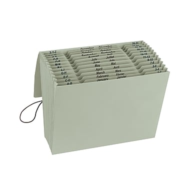 Smead® 100% Recycled Expanding File, Multi-Index (A-Z, Jan-Dec and Daily), 12 Pockets, Flap & Cord, Letter, Green Tea (70778)