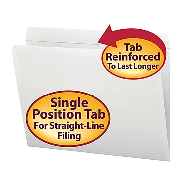 Smead® File Folder, Reinforced Straight-Cut Tab, Letter Size, White, 100/Box (12810)