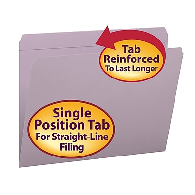 Smead File Folder, Reinforced Straight-Cut Tab, Letter Size, Lavender, 100/Box (12410)