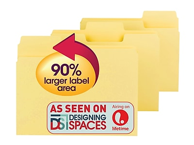 Smead SuperTab Oversized 3-Tab Colored File Folders, Letter, Yellow, 100/Bx (11984)