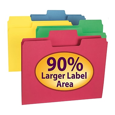 Smead® SuperTab® File Folder, Oversized 1/3-Cut Tab, Letter Size, Assorted Colors, 100/Box (11987)