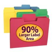 Smead® SuperTab® File Folder, Oversized 1/3-Cut Tab, Letter Size, Assorted Colors, 100/Box (11987)