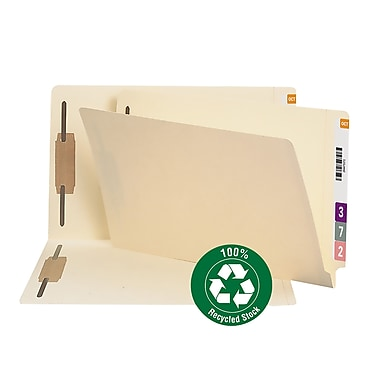 Smead® End Tab 100% Recycled Fastener File Folder, Shelf-Master® Reinforced Straight Tab, Legal, Manila, 50/Box (37160)