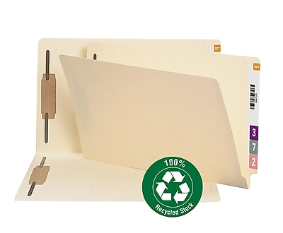 Smead End Tab 100% Recycled Fastener File Folder, Shelf-Master Reinforced Straight Tab, Legal, Manila, 50/Box (37160)