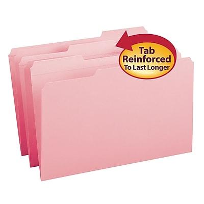 Smead File Folder, Reinforced 1/3-Cut Tab, Legal Size, Pink, 100 per Box (17634)