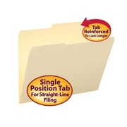 Smead®  File Folders, Reinforced 2/5-Cut Right of Center Position, Guide Height, Letter Size, Manila, 100 Per Box (10376)