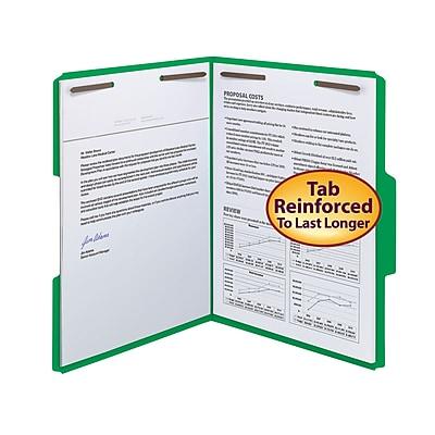 Smead Fastener File Folder, 2 Fasteners, Reinforced 1/3-Cut Tab, Letter Size, Green, 50/Box (12140)