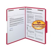 Smead® Fastener File Folder, 2 Fasteners, Reinforced 1/3-Cut Tab, Letter Size, Red, 50/Box (12740)
