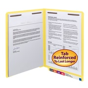 Smead® End Tab Fastener File Folder, Shelf-Master® Reinforced Straight-Cut Tab, 2 Fasteners, Letter, Yellow, 50/Box (25940)