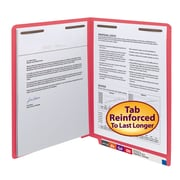 Smead® End Tab Fastener File Folder, Shelf-Master® Reinforced Straight-Cut Tab, 2 Fasteners, Letter, Red, 50/Box (25740)