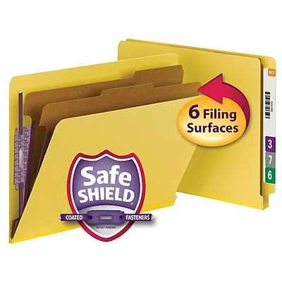 Smead End Tab Pressboard Classification File Folder with SafeSHIELD, Letter Size, Yellow, 10/Box (26789)