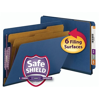 Smead End Tab Pressboard Classification File Folder with SafeSHIELD, Letter, Dark Blue, 10/Box (26784)