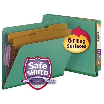Smead Pressboard End-Tab Classification Folders, 6-Fasteners, 2-Partitions, Letter, Green, 10/Bx (26785)
