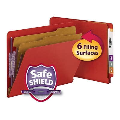 Smead End Tab Pressboard Classification File Folder with SafeSHIELD, Letter, Bright Red, 5/Box (26783)