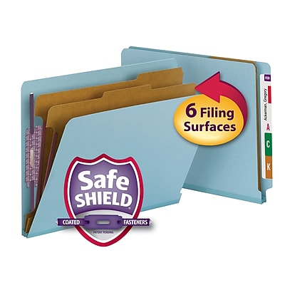 Smead End Tab Pressboard Classification File Folder with SafeSHIELD, Letter Size, Blue, 10/Box (26781)