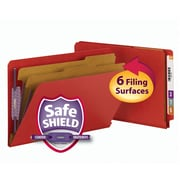 Smead® End Tab Pressboard Classification File Folder with SafeSHIELD®, Legal, Bright Red, 10/Box (29783)
