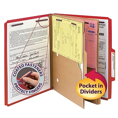 Smead Pressboard 2/5-Cut Tab Classification Folders, 6-Fasteners, 2 Pocket Partitions, Letter, Bright Red, 10/Bx (14082)