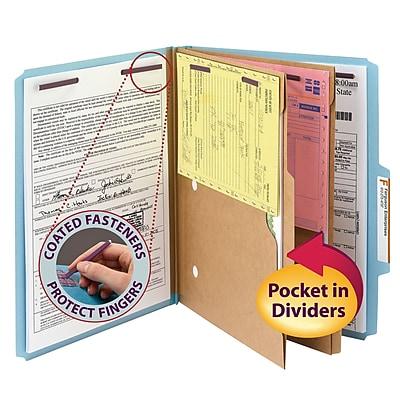 Smead Pressboard Classification Folder w/ Pocket Divider, SafeSHIELD Fasteners, 2