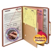 "Smead® Pressboard Classification Folder w/ Pocket Divider, SafeSHIELD® Fasteners, 2"" Exp., Letter, Red, 10/Box (14079)"