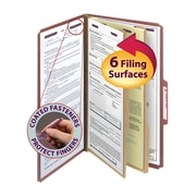 """Smead® Pressboard Classification File Folder with SafeSHIELD® Fasteners, 2 Dividers, 2"""" Exp., Legal, Red, 10/Box (19075)"""