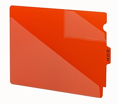 Smead End Tab Poly Out Guide, Two-Pocket Style, Center Position Tab, Extra Wide Letter Size, Red, 50/Box (61960)