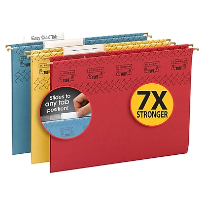 Smead TUFF Adjustable 3-Tab Colored Hanging File Folders with Easy Slide? Tab, Letter, Assorted, 15/Bx (64040)