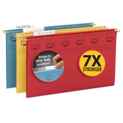 Smead TUFF Hanging File Folder,Easy Slide Tab, 1/3-Cut Adjustable Plastic Tabs, Legal, Assorted Colors, 15/Box (64140)