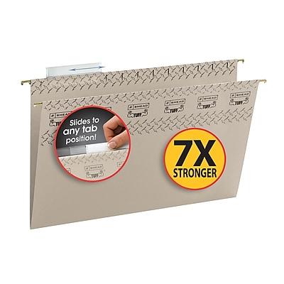 Smead TUFF Hanging File Folder with Easy Slide Tab,1/3-Cut Sliding Tab, Legal Size, Steel Gray, 18/Box (64093)