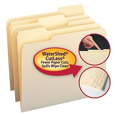 Smead WaterShed/CutLess File Folder, 1/3-Cut Tab, Letter Size, Manila, 100/Box (10343)
